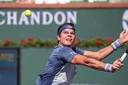 March 16, 2019 - Indian Wells, CA, U.S. - INDIAN WELLS, CA - MARCH 16: Milos Raonic (CAN) hits a backhand volley during the BNP Paribas Open on March 16, 2019 at Indian Wells Tennis Garden in Indian Wells, CA. (Photo by George Walker/Icon Sportswire) (Credit Image: © George Walker/Icon SMI via ZUMA Press)