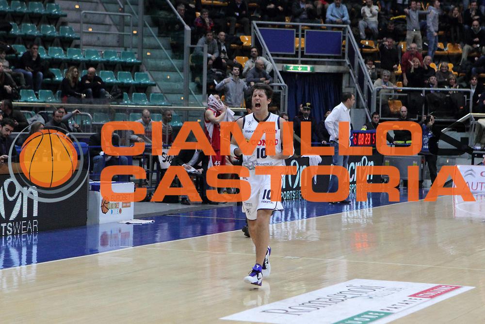 DESCRIZIONE : Bologna Lega Basket A2 2011-12 Conad Bologna Giorgio Tesi Group Pistoia<br /> GIOCATORE : Pecile Andrea <br /> CATEGORIA : esultanza<br /> SQUADRA : Conad Bologna<br /> EVENTO : Campionato Lega A2 2011-2012<br /> GARA : Conad Bologna Giorgio Tesi Group Pistoia<br /> DATA : 15/02/2012<br /> SPORT : Pallacanestro<br /> AUTORE : Agenzia Ciamillo-Castoria/D.Vigni<br /> Galleria : Lega Basket A2 2011-2012 <br /> Fotonotizia : Bologna Lega Basket A2 2011-12 Conad Bologna Giorgio Tesi Group Pistoia<br /> Predefinita :