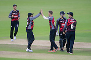Max Waller of Somerset (right) and Mahela Jayawardene celebrate the wicket of Liam Dawson of Hampshire during the Royal London One Day Cup match between Hampshire County Cricket Club and Somerset County Cricket Club at the Ageas Bowl, Southampton, United Kingdom on 2 August 2016. Photo by David Vokes.