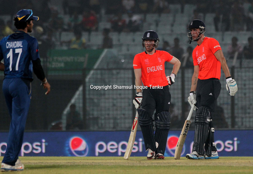 Eoin Morgan and Alex Hales - England v Sri Lanka - ICC World Twenty20, Bangladesh 2014. 28 March 2014, Zahur Ahmed Chowdhury Stadium, Chittagong. Photo: Shamsul hoque Tanku/www.photosport.co.nz