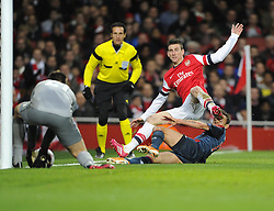 Arsenal's Laurent Koscielny denies Bayern Munich's Rafinha - Photo mandatory by-line: Joe Meredith/JMP - Tel: Mobile: 07966 386802 19/02/2014 - SPORT - FOOTBALL - London - Emirates Stadium - Arsenal v Bayern Munich - Champions League - Last 16 - First Leg