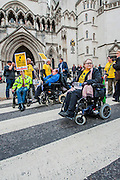 PCS supported ILF (independent living fund) Protest by disability groups at the Royal Courts of Justice, London, UK. Guy Bell, 07771 786236, guy@gbphotos.com