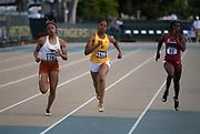 May 24, 2019; Sacramento, CA, USA; Zola Golden (1283) of Texas, Bailey Lear (1518) of Southern California and Morgan Burks Magee (95) of Arkansas run in a women's 400m heat during the NCAA West Preliminary at Hornet Stadium.
