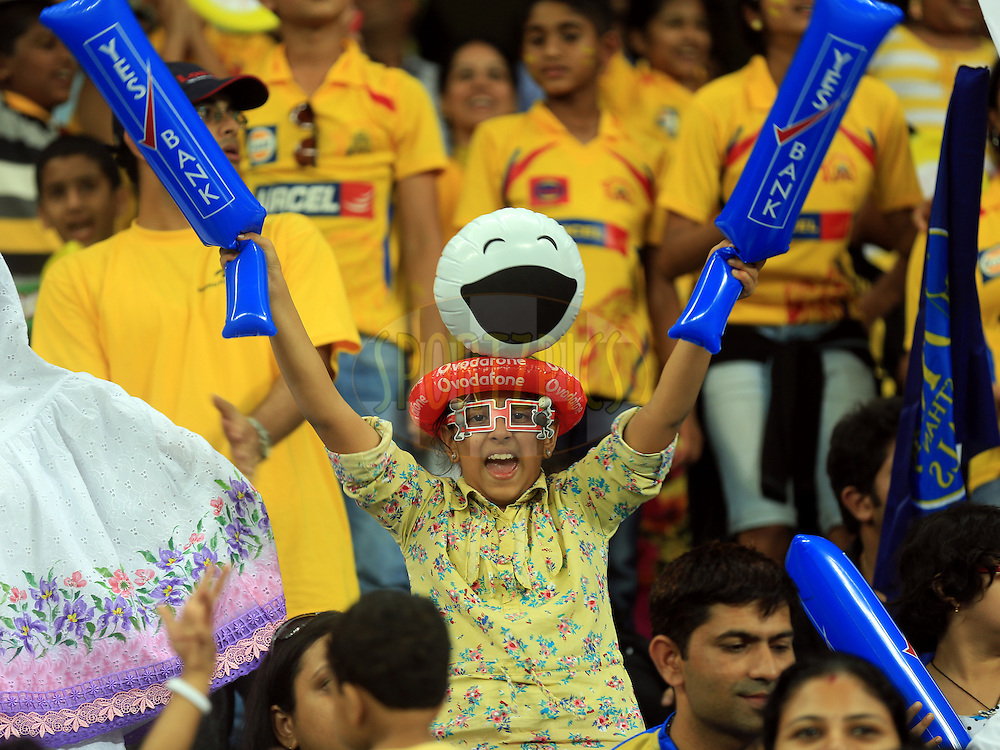 Fan's Enjoys during match 10 of the Pepsi Indian Premier League Season 7 between the Chennai Superkings and the Rajasthan Royals held at the Dubai International Stadium, Dubai, United Arab Emirates on the 23rd April 2014<br /> <br /> Photo by Sandeep Shetty / IPL / SPORTZPICS