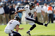 Baltimore Ravens punter Sam Koch (4) holds while Baltimore Ravens kicker Justin Tucker (9) kicks a 30 yard first quarter field goal that ties the score at 3-3 during the 2017 NFL week 9 regular season football game against the Tennessee Titans, Sunday, Nov. 5, 2017 in Nashville, Tenn. The Titans won the game 23-20. (©Paul Anthony Spinelli)