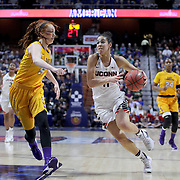 Kia Nurse, UConn, (right), drives past Marina Laramie, East Carolina, during the UConn Huskies Vs East Carolina Pirates Quarter Final match at the  2016 American Athletic Conference Championships. Mohegan Sun Arena, Uncasville, Connecticut, USA. 5th March 2016. Photo Tim Clayton