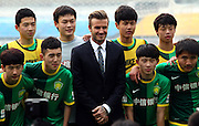 Mar 21, 2013; Beijing, CHINA; British football player David Beckham during his visit to Beijing Guo'an Football Club at Workers Stadium. David Beckham is on a five-day visit to China at the invitation of the China Football Association as China's first international ambassador.