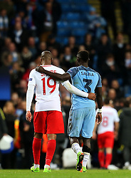 Djibril Sidibe of Monaco and Bacary Sagna of Manchester City leave the pitch together at full time - Mandatory by-line: Matt McNulty/JMP - 21/02/2017 - FOOTBALL - Etihad Stadium - Manchester, England - Manchester City v AS Monaco - UEFA Champions League - Round of 16 First Leg