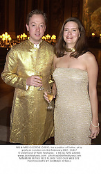 MR & MRS GEORDIE GREIG, he is editor of Tatler, at a party in London on 3rd February 2001.	OLB 7