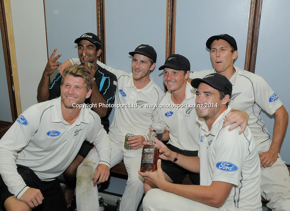 (L to R) Corey Anderson, Ish Sodhi, Kane Williamson, BJ Watling, Tim Southee and Trent Boult, New Zealand celebrate after the fifth and final day of the Third and Final Test West Indies v New Zealand at Kensington Oval, Barbados. 30 June 2014.<br /> Photo: Randy Brooks