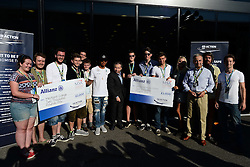 06.09.2014, Autodromo di Monza, Monza, ITA, FIA, Formel 1, Grand Prix von Italien, Qualifying, im Bild Lewis Hamilton (GBR) Mercedes AMG F1 and Jean Todt (FRA) FIA President present cheques to Mid Kent College and Hurtwood House School. // during the Qualifying of Italian Formula One Grand Prix at the Autodromo di Monza in Monza, Italy on 2014/09/06. EXPA Pictures © 2014, PhotoCredit: EXPA/ Sutton Images/ Lundin<br /> <br /> *****ATTENTION - for AUT, SLO, CRO, SRB, BIH, MAZ only*****