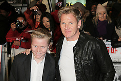 © Licensed to London News Pictures. Gordon Ramsey and his son Jack Scott Ramse attend The Class of 92  World Film Premiere at The Odeon West End, Leicester Square, London on 01 December 2013. Photo credit: Richard Goldschmidt/LNP
