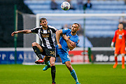 Notts County forward Jonathan Stead (30) and Coventry City defender Liam Kelly (6) battle for the ball during the EFL Sky Bet League 2 match between Coventry City and Notts County at the Ricoh Arena, Coventry, England on 12 May 2018. Picture by Simon Davies.