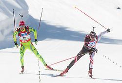 FAK Jakov of Slovenia and LANDERTINGER Dominik of Austria during Men 12.5 km Pursuit competition of the e.on IBU Biathlon World Cup on Saturday, March 8, 2014 in Pokljuka, Slovenia. Photo by Vid Ponikvar / Sportida
