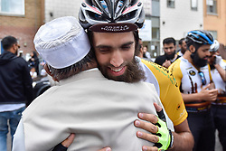 © Licensed to London News Pictures. 14/07/2017. London, UK. Good luck wishes are given to a Hajj cyclist.  Muslim cyclists gathered at the East London Mosque in Whitechapel to set out on the 'Hajj Ride', the first ever charity cycle ride from London to Medina in Saudi Arabia.  The 3,500km, 6 week ride will pass through 8 countries raising funds for medical aid in Syria.  Intended to champion cycling in Muslim society, the ride also aims to satisfy one of the five pillars of Islam, being the Hajj pilgrimage to Mecca.  Photo credit : Stephen Chung/LNP