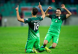 Rok Kronaveter of Slovenia and Miral Samardzic of Slovenia celebrate after Kronaveter scored first goal for Slovenia during football match between National teams of Slovenia and Slovakia in Round #2 of FIFA World Cup Russia 2018 qualifications in Group F, on October 8, 2016 in SRC Stozice, Ljubljana, Slovenia. Photo by Vid Ponikvar / Sportida