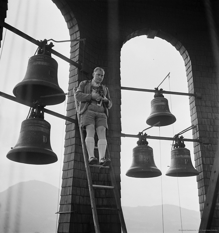 Man on Ladder in Bell Tower, Salzburg, Austria, 1937