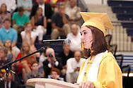 Valedictorian Alexandra Ricard speaks during the 47th commencement excercise of Archbishop Alter High School at Trent Arena in Kettering, Saturday, May 26, 2012.