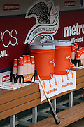 ANAHEIM, CA - APRIL 14:  Water coolers and drink cups fill the dugout during batting practice before the Los Angeles Angels of Anaheim game against the Houston Astros on Sunday, April 14, 2013 at Angel Stadium in Anaheim, California. The Angels won the game 4-1. (Photo by Paul Spinelli/MLB Photos via Getty Images)
