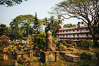 Fort Kochi, India -- February 12, 2018: The Old Dutch Cemetery near Mahatma Gandhi Beach.