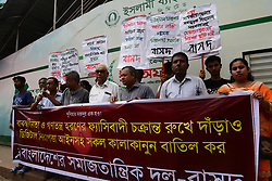 October 5, 2018 - Dhaka, Bangladesh - Activists protest against digital security law of Bangladesh, in front of National Press Club in Dhaka, on October 5, 2018. Bangladesh's parliament passed the contentious digital security law despite protests by journalists and rights groups who say the law poses a serious threat to freedom of press and freedom of expression. Bangladesh Socialist Party holds a protest against the newly passed. (Credit Image: © Str/NurPhoto/ZUMA Press)