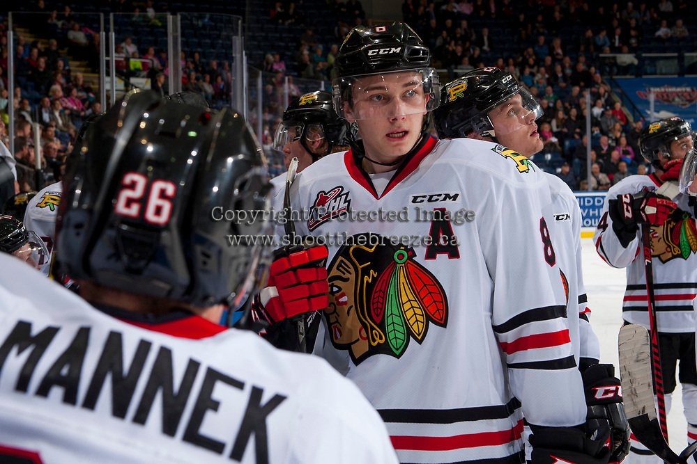 KELOWNA, CANADA - OCTOBER 21: Cody Glass #8 of the Portland Winterhawks stands at the bench during a time out  against the Kelowna Rockets on October 21, 2017 at Prospera Place in Kelowna, British Columbia, Canada.  (Photo by Marissa Baecker/Shoot the Breeze)  *** Local Caption ***