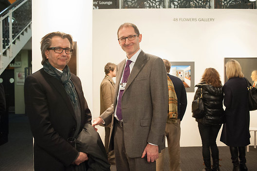 ANTHONY WILKINSON; MATHEW FLOWERS, 2013 London Art Fair vip private view.  Business Design Centre, Upper Street, London, 15 January 2013