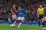 Ryan Kent of Rangers FC takes a shot at goal during the Betfred Scottish League Cup semi-final match between Rangers and Heart of Midlothian at Hampden Park, Glasgow, United Kingdom on 3 November 2019.