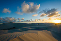 Sun sets over the De Hoop Nature Reserve Dune Field, Western cape, South Africa