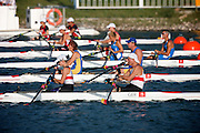 WIMMER Harald and KOEHLER Siglind of Germany, DEREZA Sergii and  KYRYCHENKO Iryna of the Ukraine, STEFANONI Daniele and  TOSCANO Stefania of Italy, PAWLAK Jolanta and MAJKA Piotr of Poland and HAMADA Miho and  MATSUMOTO Megumi  of Japan competeing in the MIXED DOUBLE SCULLS - TA Repecharge 2 at   The SY rowing and Canoeing centre at the Paralympic games, Beijing, China. 10th September 2008