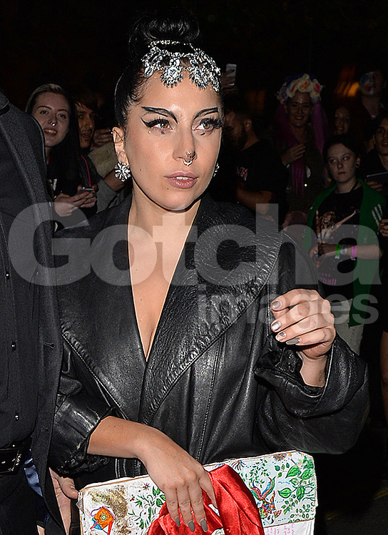 Singer Lady Gaga arriving at her The Langham Hotel after her performance at The O2 in London, UK. 26/10/2014<br />
