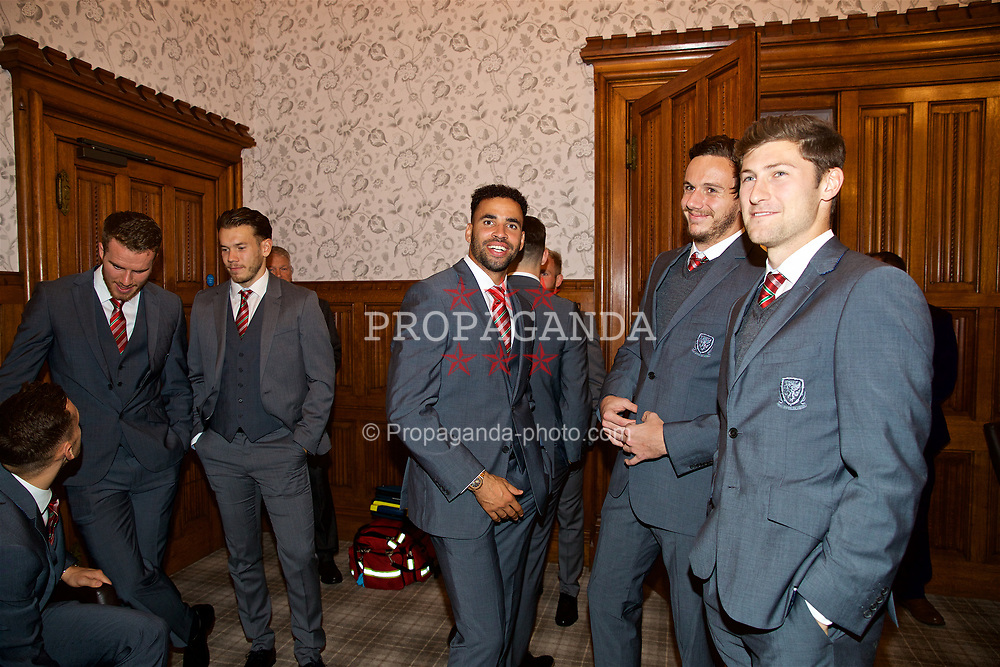 CARDIFF, WALES - Monday, October 2, 2017: Wales' Hal Robson-Kanu, goalkeeper Daniel Ward and Ben Davies before the FAW Awards Dinner at the Hensol Castle. (Pic by David Rawcliffe/Propaganda)