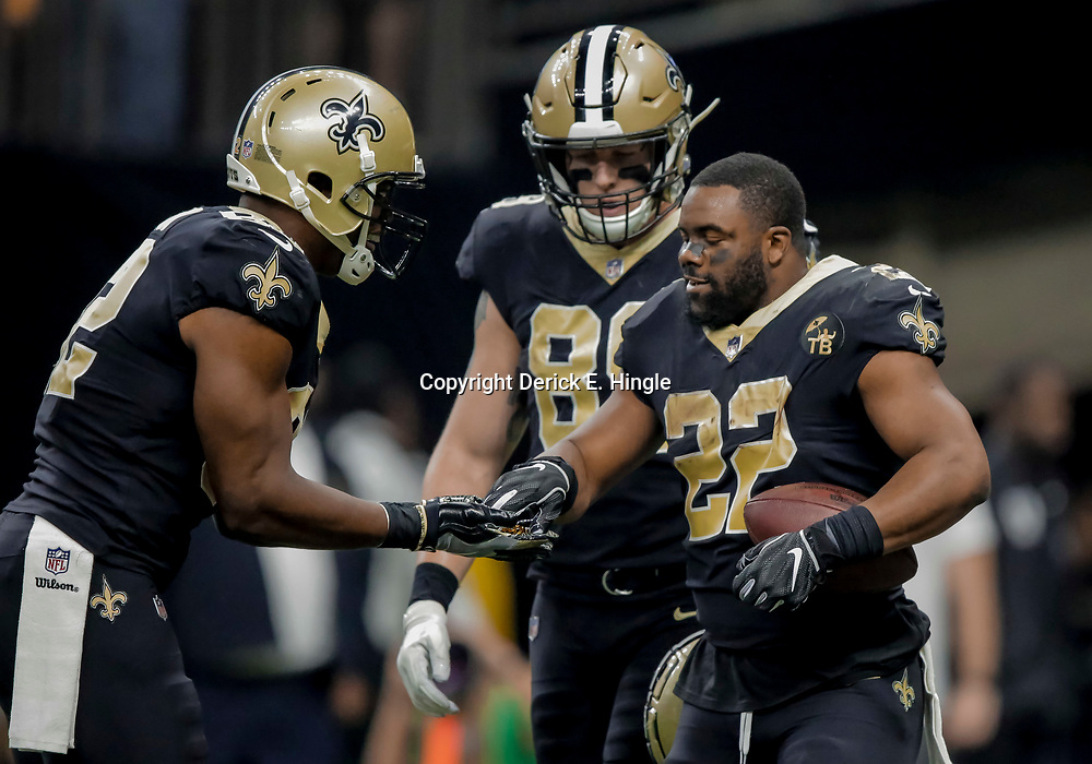 Dec 23, 2018; New Orleans, LA, USA; New Orleans Saints running back Mark Ingram II (22) celebrates with tight end Benjamin Watson (82) after a touchdown during the first quarter against the Pittsburgh Steelers at the Mercedes-Benz Superdome. Mandatory Credit: Derick E. Hingle-USA TODAY Sports