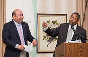 Ohio University President Roderick McDavis introduces Ohio Sepaker of the House Cliff Rosenberger as the keynote speaker during the Ohio University State Government Alumni Luncheon on Tuesday, May 5, 2015.  Photo by Ohio University  /  Rob Hardin
