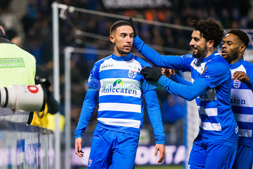 (L-R) Younes Namli of PEC Zwolle, Youness Mokhtar of PEC Zwolle, Terell Ondaan of PEC Zwolle during the Dutch Eredivisie match between PEC Zwolle and Vitesse Arnhem at the MAC3Park stadium on January 27, 2018 in Zwolle, The Netherlands