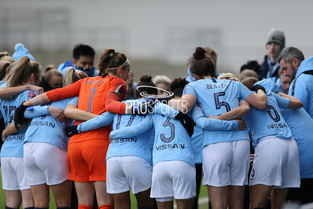 Manchester City Women's pre match huddle during the FA Women's Super League match between Manchester City Women and Brighton and Hove Albion Women at the Sport City Academy Stadium, Manchester, United Kingdom on 27 January 2019.