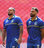 Ben Murdoch-Masila  (L) and Ryan Atkins (R) look around the stadium during the Warrington Wolves Captains Run ahead of the Ladbrokes Challenge Cup Final at Wembley Stadium, London<br /> Picture by Stephen Gaunt/Focus Images Ltd +447904 833202<br /> 24/08/2018