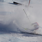 Winter Olympics, Vancouver, 2010.Lindsey Vonn, USA, crashes out of the Ladies Super Combined during competition at Whistler Creekside, Whistler, during the Vancouver Winter Olympics. 18th February 2010. Photo Tim Clayton