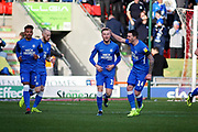 Peterborough Utd midfielder George Cooper (19) celebrates scoring the first goal 0-1 during the EFL Sky Bet League 1 match between Doncaster Rovers and Peterborough United at the Keepmoat Stadium, Doncaster, England on 9 February 2019.