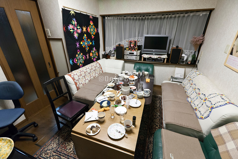 Japan family house with table after dinner