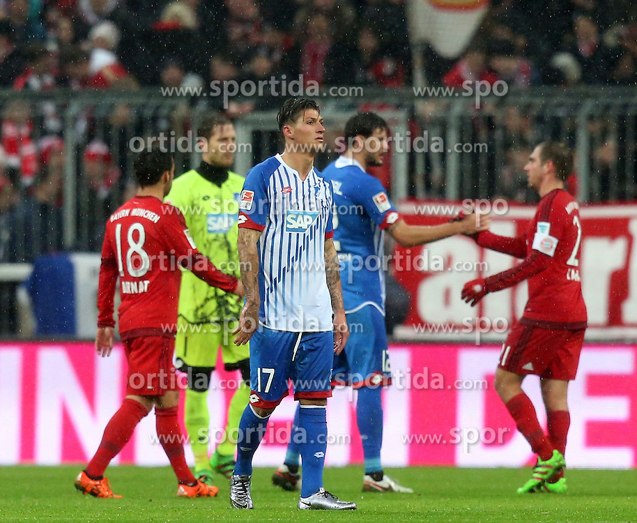 31.01.2016, Allianz Arena, Muenchen, GER, 1. FBL, FC Bayern Muenchen vs TSG 1899 Hoffenheim, 19. Runde, im Bild Steven Zuber (TSG 1899 Hoffenheim) nach der Niederlage // during the German Bundesliga 19th round match between FC Bayern Munich and TSG 1899 Hoffenheim at the Allianz Arena in Muenchen, Germany on 2016/01/31. EXPA Pictures &copy; 2016, PhotoCredit: EXPA/ Eibner-Pressefoto/ Langer<br /> <br /> *****ATTENTION - OUT of GER*****