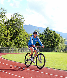01.07.2016, Athletic Area, Schladming, AUT, U19 EURO, Vorbereitung Deutschland, DFB U19 Junioren, im Bild Cedric Teuchert (1. FC Nürnberg, Deutschland U19) auf einem Mountainbike // during a training camp of Team Germany for preparation for the UEFA European Under-19 Championship at the Athletic Area, Austria on 2016/07/01. EXPA Pictures © 2016, PhotoCredit: EXPA/ Martin Huber