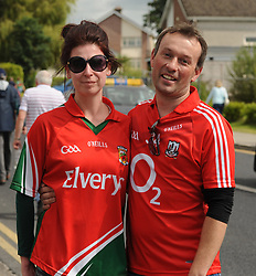 Match-Up Mayo supporter Heidi Kight with Corkman Conor Desmond making their way to the Gaelic Grounds Limerick for  the qualifer clash against Cork.<br />