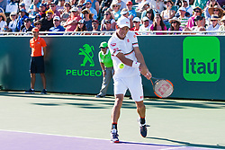 March 23, 2018 - Key Biscayne, FL, U.S. - KEY BISCAYNE, FL - MARCH 23: Kei Nishikori (JPN) in action on Day 5 of the Miami Open at Crandon Park Tennis Center on March 23, 2018, in Key Biscayne, FL. (Photo by Aaron Gilbert/Icon Sportswire) (Credit Image: © Aaron Gilbert/Icon SMI via ZUMA Press)