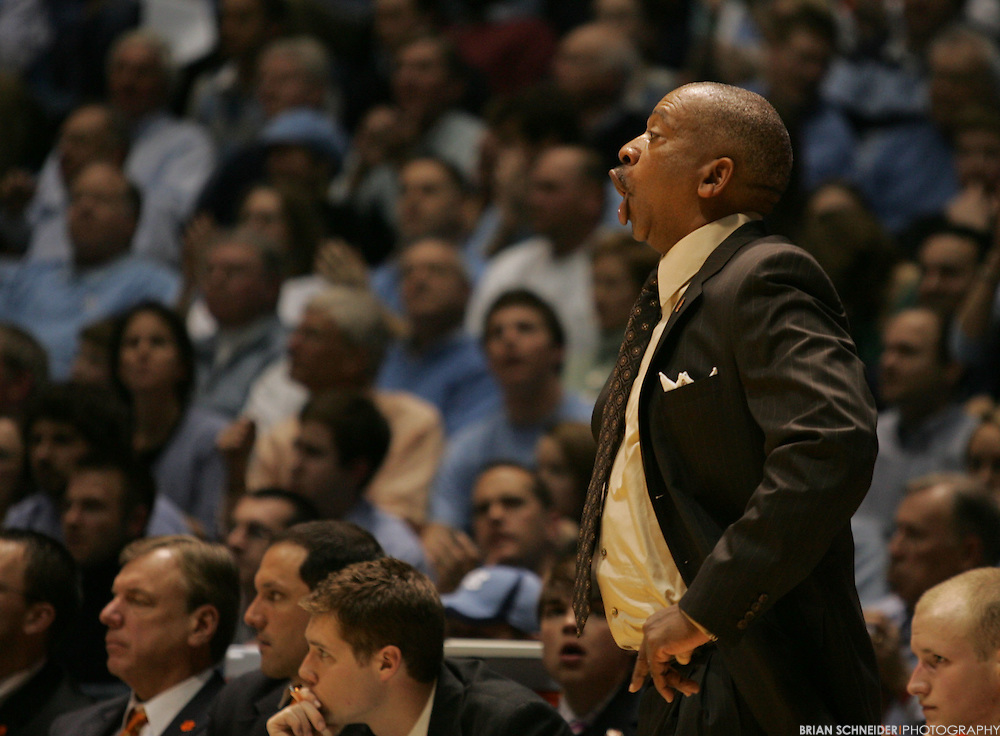 Jan 21, 2009; Chapel Hill, NC, USA; Clemson Tigers head coach Oliver Purnell reacts against the North Carolina Tar Heels during the second half at Dean E. Smith Center.  Mandatory Credit: Brian Schneider-www.ebrianschneider.com