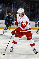 Nov 17, 2011; San Jose, CA, USA; Detroit Red Wings center Darren Helm (43) warms up before the game against the San Jose Sharks at HP Pavilion. San Jose defeated Detroit 5-2. Mandatory Credit: Jason O. Watson-US PRESSWIRE