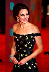 The Duchess of Cambridge attending the EE British Academy Film Awards held at the Royal Albert Hall, Kensington Gore, Kensington, London.