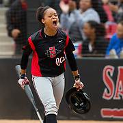 12 May 2018: San Diego State pinch runner Aris Metcalfe (0) celebrates after scoring the game tying run in the bottom of the seventh inning. San Diego State women's softball closed out the season against Utah State with a 3-2 win on seniors day and sweep the series. <br /> More game action at sdsuaztecphotos.com