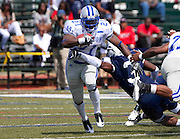 "Hampton University senior Steve Robinson (21) rushes for 86 yards during their 31 - 21 victory over Howard in ""The Battle of the Real HU's"" during a 2010 MEAC Football game held at Green Stadium on the campus of Howard University in Washington, DC.  (Photo by Mark W. Sutton)"