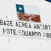 A sign for the Chilean Base Presidente Eduardo Frei Montalva in Antarctica.